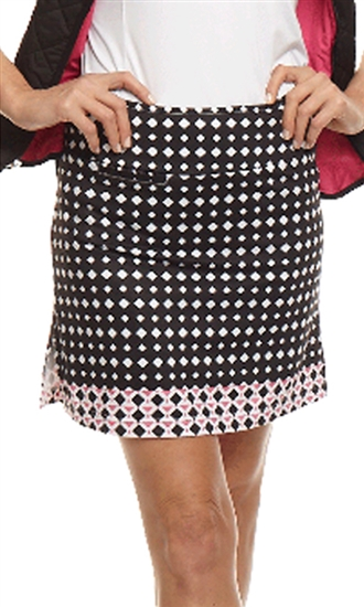 Golftini GT Tech Pull On Golf Skort - Bold Black/White/Pink Pattern