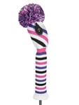 Just4Golf Fairway Headcover - Diagonal Stripe Purple/Pink