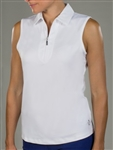 Jofit Sleeveless Jacquard White Polo