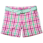 Garb Kenna Pink & Green Plaid Golf Shorts