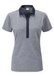 PING Monica Short Sleeve Stripe Golf Polo - Navy/White