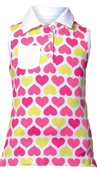 Garb Rebecca Sleeveless Golf Polo - Hot Pink Hearts