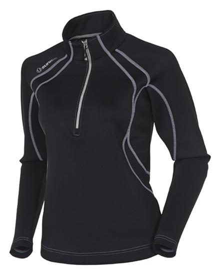 Sunice Megan Lightweight Thermal Stretch Pullover Black