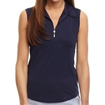 Golftini Navy Sleeveles Zip Tech Polo