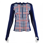 SanSoleil SunGlow Zip Crew Top - Watson Houndstooth