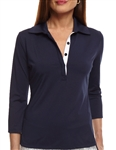Golftini 3/4 Sleeve Navy Tech Polo