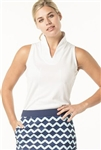 VK Sport Sleeveless Stand Collar Top - White