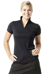 VK Sport Short Sleeve Stand Up Collar Top - Black Pearl