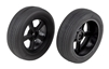 Associated DR10 Front Wheels and Drag Tires, Mounted (2)
