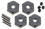 Axial Narrow Aluminum Hub, Black, 12mm, 4pc