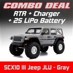 Axial SCX10 III RTR with Jeep JLU Wrangler Body - Gray Combo with Charger and 2S LiPo Battery