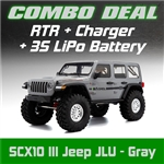 Axial SCX10 III RTR with Jeep JLU Wrangler Body - Gray Combo with Charger and 3S LiPo Battery