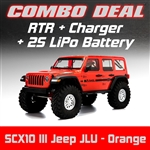 Axial SCX10 III RTR with Jeep JLU Wrangler Body - Orange Combo with Charger and 2S LiPo Battery