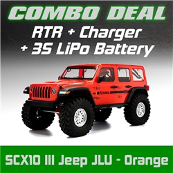 Axial SCX10 III RTR with Jeep JLU Wrangler Body - Orange Combo with Charger and 3S LiPo Battery
