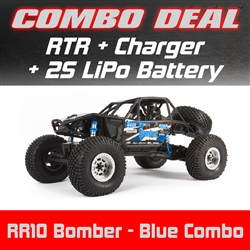 Axial RR10 Bomber Rock Racer RTR - Blue Combo with Charger and 2S LiPo Battery