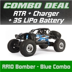 Axial RR10 Bomber Rock Racer RTR - Blue Combo with Charger and 3S LiPo Battery