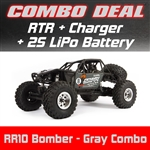 Axial RR10 Bomber Rock Racer RTR - Gray Combo with Charger and 2S LiPo Battery