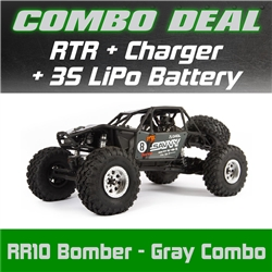 Axial RR10 Bomber Rock Racer RTR - Gray Combo with Charger and 3S LiPo Battery