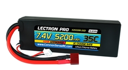 Common Sense RC 5200mAh 2S 7.4V 35C Lectron Pro LiPo Battery - Deans