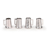 Darice Timeless Minis - Beer Mugs - Pewter - .375 x .4375 inches - 4 pieces