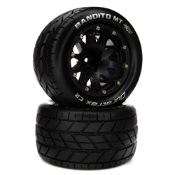 "Duratrax BANDITO MT BELTED 2.8"" Mounted Front/Rear Tires 14mm Black (2)"