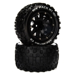 "Duratrax SIX PACK MT BELTED 2.8"" Mounted Front/Rear Tires 14mm Black (2)"