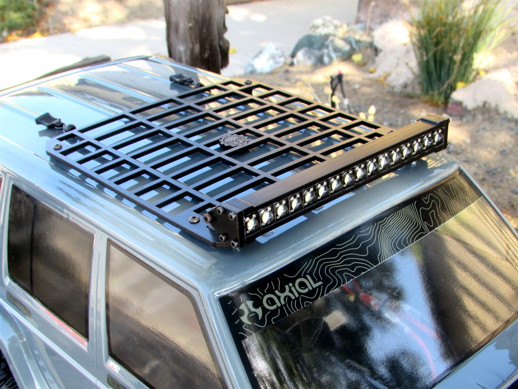 Gear Head Rc 1 10 Scale Jeep Xj Slim Line Roof Rack With Light Bar Mount