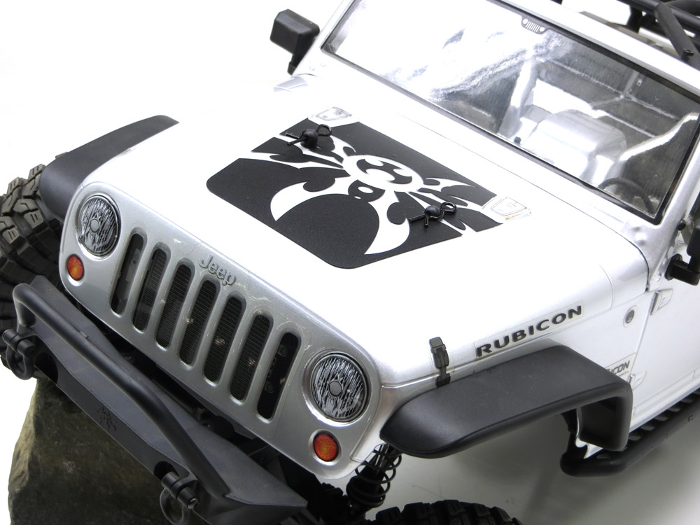 White GEA7043 Gear Head RC 1//10 Scale JK Mountain Spyder Hood Decal