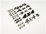 "Gear Head RC Vinyl ""4X4"" Decal Sheet - Matte Black"