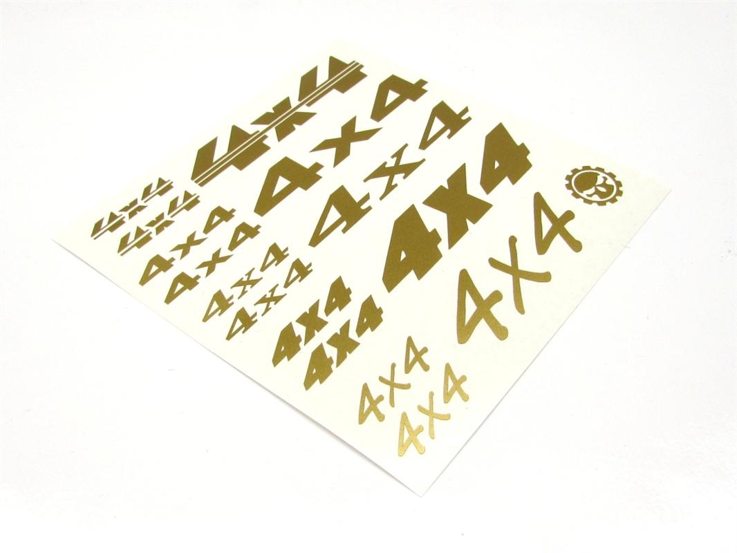 """Gear Head RC Vinyl /""""4X4/"""" Decal Sheet Gold GEA7085"""