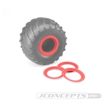 JConcepts Tribute Wheel (Glue On) Mock Beadlock Rings (4) Red
