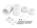 "JConcepts Tribute 2.6"" x 3.6"" Monster Truck wheels w/ adapters White (2)"