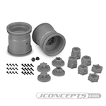 "JConcepts Midwest 2.2"" Monster Truck 12mm Hex Wheels w/ Adapters Silver (2)"