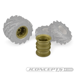 "JConcepts Krimson Dually 2.6"" Dual Truck Wheels Olive / Gold (2)"