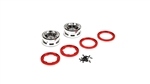 "Losi 2.2"" Beadlock Wheels, Chrome with Red Rings (2): NCR2.0"