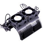 Powerhobby Heat Sink with Twin Tornado High Speed Fans, for 1/8 Motors, Black