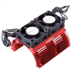 Powerhobby Heat Sink with Twin Tornado High Speed Fans, for 1/8 Motors, Red