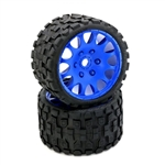 "Powerhobby Scorpion BELTED Monster Truck Pre-mounted Tires on 3.8"" Wheels - Blue (2)"