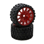 "Powerhobby Scorpion BELTED Monster Truck Pre-mounted Tires on 3.8"" Wheels - Red (2)"