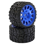 "Powerhobby Raptor BELTED Monster Truck Tires Pre-mounted on 3.8"" Wheels - Blue (2)"