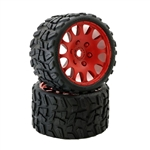 "Powerhobby Raptor BELTED Monster Truck Tires Pre-mounted on 3.8"" Wheels - Red (2)"