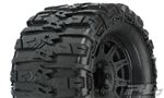 "Pro-Line Trencher HP 3.8"" All Terrain Belted Tires Mounted on Raid Black Wheels (2)"