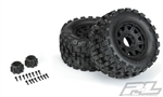 "Pro-Line Badlands MX38 HP 3.8"" All Terrain Belted Tires Mounted on Raid Black Wheels (2)"