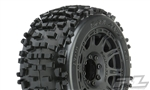 "Pro-Line Racing Badlands 3.8"" All Terrain Tires Mounted on Raid Black Wheels (2)"