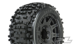 "Pro-Line Badlands 3.8"" All Terrain Tires Mounted on Raid Black Wheels (2)"