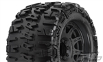 "Pro-Line Trencher X 3.8"" All Terrain Tires Mounted on Raid Black Wheels (2)"