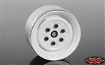 "RC4WD Vintage Yota 6 Lug Stamped Steel 1.55"" Beadlock Wheels (White) (4)"