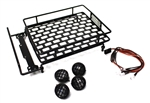 Racers Edge 1/10 Scaler Metal Grid Roof Rack Round Lights Black