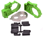 RPM Hybrid Gearbox Housing and Rear Mounts (Green) Stampede/Rustler/Slash 2wd