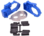 RPM Hybrid Gearbox Housing and Rear Mounts (Blue) Stampede/Rustler/Slash 2wd